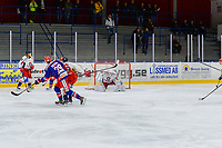 2019-11-27 | Tyringe, Sweden: Hanhals (75) Mathias Israelsson makes a save during the game in Hockeyettan between Tyringe SoSs and Hanhals Kings at Tyrs Hov ( Photo by: Henrik Eberlund | Swe Press Photo )<br /> <br /> Keywords: Tyringe, Icehockey, Hockeyettan, Tyrs Hov, Tyringe SoSs, Hanhals Kings, Ishockey, TH191127
