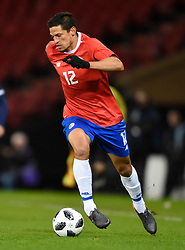Costa Rica's Daniel Colindres in action during the international friendly match at Hampden Park, Glasgow. RESTRICTIONS: Use subject to restrictions. Editorial use only. Commercial use only with prior written consent of the Scottish FA.