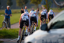 Rabo Liv put down the power after a tight corner at the 26.4 km Stage 2 Team Time Trial of the Boels Ladies Tour 2016 on 31st August 2016 in Gennep, Netherlands. (Photo by Sean Robinson/Velofocus).