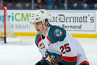 KELOWNA, CANADA - MARCH 13: Kyle Crosbie #25 of the Kelowna Rockets warms up against the Spokane Chiefs on March 13, 2019 at Prospera Place in Kelowna, British Columbia, Canada.  (Photo by Marissa Baecker/Shoot the Breeze)