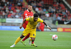 Ellis Harrison of Bristol Rovers is brought down by Sammy Moore of Leyton Orient - Mandatory byline: Neil Brookman/JMP - 07966386802 - 29/08/2015 - FOOTBALL - Matchroom Stadium -Leyton,England - Leyton Orient v Bristol Rovers - Sky Bet League Two