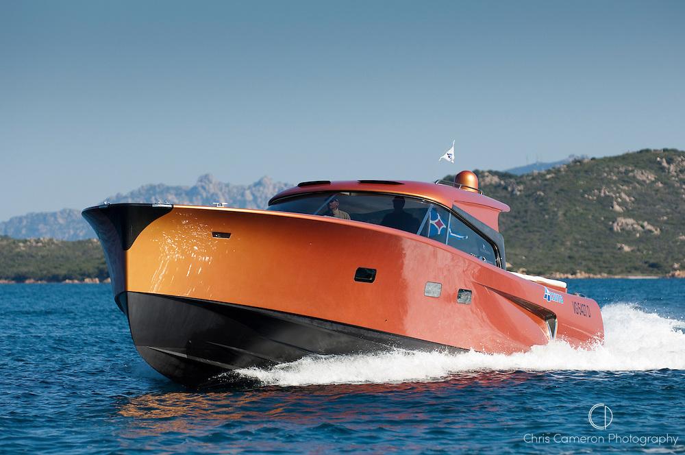 Power boat Maxi Dolphin, La Maddalena, Sardinia. Italy.