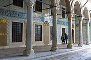 Tourists view Harem quarters at Topkapi Palace, Topkapi Sarayi, part of Ottoman Empire, Istanbul, Republic of Turkey