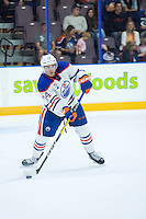 PENTICTON, CANADA - SEPTEMBER 16: Ethan Bear #74 of Edmonton Oilers passes the puck against the Vancouver Canucks on September 16, 2016 at the South Okanagan Event Centre in Penticton, British Columbia, Canada.  (Photo by Marissa Baecker/Shoot the Breeze)  *** Local Caption *** Ethan Bear;