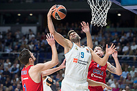 Real Madrid Felipe Reyes and CSKA Moscu Nando de Colo and Nikita Kurbanov during Turkish Airlines Euroleague match between Real Madrid and CSKA Moscu at Wizink Center in Madrid, Spain. October 19, 2017. (ALTERPHOTOS/Borja B.Hojas)