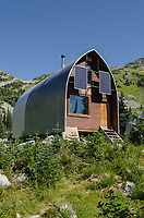 Wendy Thompson Hut located in Marriott Basin of the Coast Mountains. Solar powered backcountry hut operated by Alpine Club of Canada. British Columbia