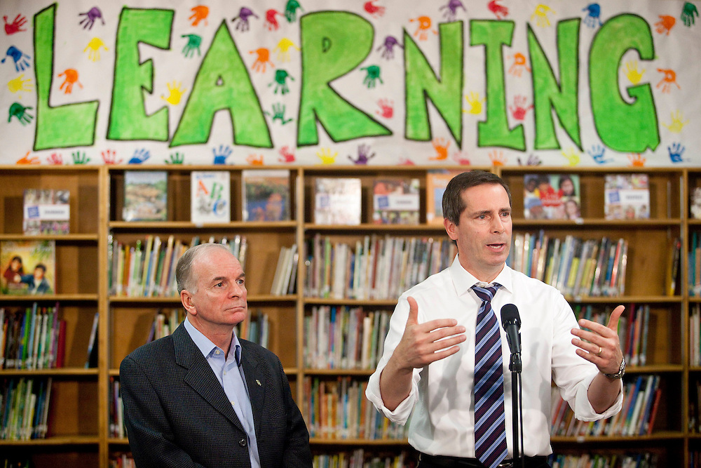 Ontario premier Dalton McGuinty speaks at a press conference at  Victor Lauriston School in Chatham, Ontario,  January 12, 2009, where he along with Chatham-Kent MPP Pat Hoy, left, announced the details of the governments full-day learning program program for 4 and 5 year olds.<br /> CP Photo/ GEOFF ROBINS