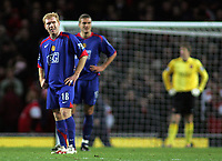 Photo: Paul Thomas.<br /> Arsenal v Manchester United. The Barclays Premiership. 21/01/2007.<br /> <br /> Paul Scholes (L) and Nemanja Vidic of Man Utd show their dejected after Arsenal score.