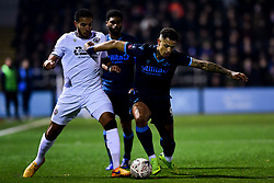 Jonson Clarke-Harris of Bristol Rovers is marked by Chris Bush of Bromley - Mandatory by-line: Ryan Hiscott/JMP - 19/11/2019 - FOOTBALL - Hayes Lane - Bromley, England - Bromley v Bristol Rovers - Emirates FA Cup first round replay