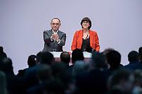 06 DEC 2019, BERLIN/GERMANY:<br /> Norbert Walter-Borjans (R), SPD, Minister a.D., Kandidat fur das Amt des Parteivorsitzenden, Saskia Esken (L), MdB, SPD, Kandidatin fuer das Amt der Parteivorsitzenden, nach ihren Bewerbungsreden und vor der Wahl der Parteivorsitzenden, SPD Bundesprateitag, CityCube<br /> IMAGE: 20191206-01-067<br /> KEYYWORDS: Party Congress, Parteitag, klatschen, applaudieren, Applaus