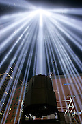 New York, NY, USA, September 11th 2004: The Towers of Light were lit at dusk and reamined on until dawn on september 12 2004. The sculpture of light is located next to the footprints of the World Trade Center and were lit as part of the 911 memorial ceremony at Ground Zero.<br /> <br />   *** Local Caption ***