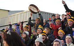 Louisburgh fans celebrate after James Dowd scores the second goal during the Connacht Junior Football final in Kiltoom on sunday.<br /> Pic Conor McKeown