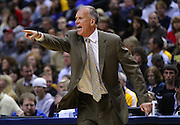 April 21, 2012; Indianapolis, IN, USA; Philadelphia 76ers head coach Doug Collins yells from the sidelines against the Indiana Pacers at Bankers Life Fieldhouse. Mandatory credit: Michael Hickey-US PRESSWIRE
