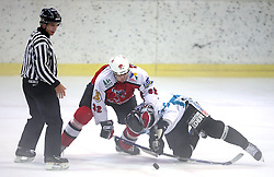 Timo Seikkula of Briancon vs Phillip Lukas of Linz at ice hockey match EHC Liwest BW Linz of Austria vs HC DR Briancon of France during Summer league R. Hiti,  on August 29, 2008 in Arena Bled, Bled, Slovenia.  (Photo by Vid Ponikvar / Sportal Images)