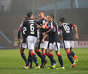 Dundee&rsquo;s Darren O&rsquo;Dea congratulates Mark O&rsquo;Hara on his equalising goal - Dundee v Hamilton Academical in the Ladbrokes Scottish Premiership at Dens Park<br /> <br />  - &copy; David Young - www.davidyoungphoto.co.uk - email: davidyoungphoto@gmail.com