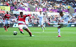 Martin Olsson of Swansea City shoots wide. - Mandatory by-line: Alex James/JMP - 02/04/2017 - FOOTBALL - Liberty Stadium - Swansea, England - Swansea City v Middlesbrough - Premier League