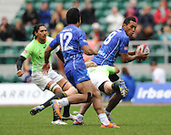 LONDON, ENGLAND - Sunday 11 May 2014, Tulolo Tulolo of Samoa during the Plate semi final match between South Africa and Samoa at the Marriott London Sevens rugby tournament being held at Twickenham Rugby Stadium in London as part of the HSBC Sevens World Series.<br /> Photo by Roger Sedres/ImageSA
