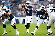 NASHVILLE, TN - NOVEMBER 29:  Marcus Mariota #8 of the Tennessee Titans takes the snap during a game against the Oakland Raiders at Nissan Stadium on November 29, 2015 in Nashville, Tennessee.  The Raiders defeated the Titans 24-21.  (Photo by Wesley Hitt/Getty Images) *** Local Caption *** Marcus Mariota