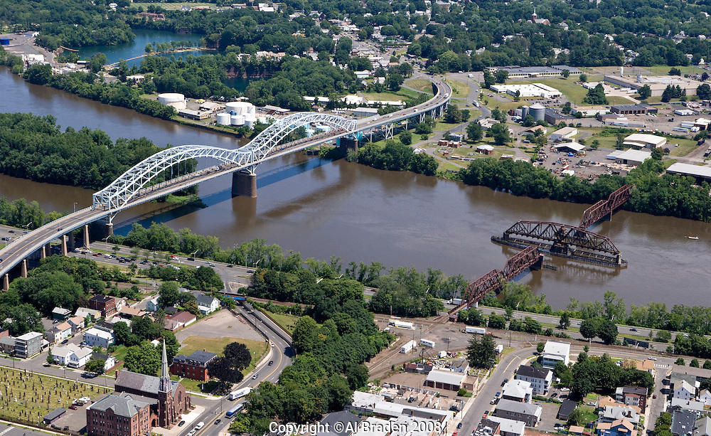 Aerial of Arrigoni Bridge and turnsitle railroad bridge over Connecticut River between Portland and  Middletown, CT