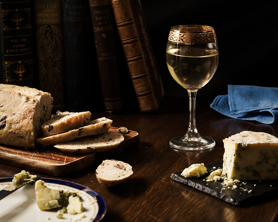 Olive bread, Stilton and wine, Brechin, Scotland