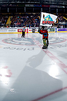 KELOWNA, CANADA - MARCH 16:  Rocky Raccoon, the mascot of the Kelowna Rockets stands on the ice against the Vancouver Giants on March 16, 2019 at Prospera Place in Kelowna, British Columbia, Canada.  (Photo by Marissa Baecker/Shoot the Breeze)