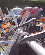 Competitors bike equipment hangs on racks at the inaugural Little Traverse Triathlon in Harbor Springs, Michigan.
