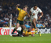 England's Wing Anthony Watson on his way to score a try to take the score to 20-10 during the Rugby World Cup Pool A match between England and Australia at Twickenham, Richmond, United Kingdom on 3 October 2015. Photo by Matthew Redman.