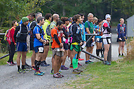 Cragsmoor, New York - Runners listen to the national anthem at Sam's Point Preserve before competing in the Shawangunk Ridge Trail Run/Hike 32-mile race on Sept. 20, 2014.