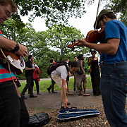 June 4, 2014 - New York, NY : <br /> Sam Harmet, on mandolin (left), and Alex Kramer, on fiddle (right), entertain people who are waiting in line to see Janelle Monáe kick off Celebrate Brooklyn!'s annual concert series in Prospect Park on Wednesday night.<br /> CREDIT: Karsten Moran for The New York Times