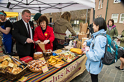 Pictured: Sarah Boyack and Alex Rowley visited and helped out at the Knights Kitchen stall run by Jenna Sankiniemi and Luki Janz. Election is in the bag.<br /> <br /> Scottish Labour deputy leader Alex Rowley was joined by the party's environment spokeswoman Sarah Boyack and party activists at a farmers' market in the Grassmarket, Edinburgh today. <br /> <br /> Ger Harley | EEm 1 April 2016