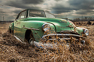Antique Green Plymouth on Alberta Prairie