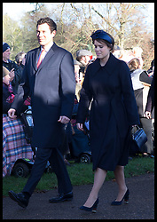 December 25, 2019, Sandringham, United Kingdom: Image licensed to i-Images Picture Agency. 25/12/2019. Sandringham, United Kingdom. Princess Eugenie and Jack Brooksbank arriving at  the Christmas Day church service at Sandringham in Norfolk, United Kingdom. (Credit Image: © Stephen Lock/i-Images via ZUMA Press)