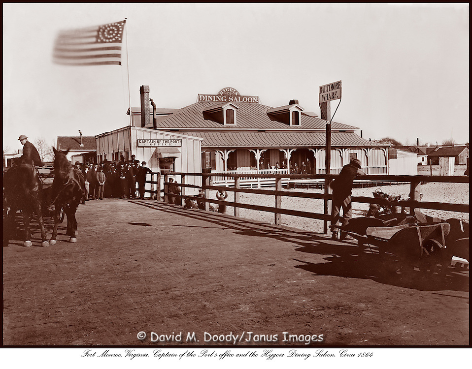 Fort Monroe at Old Point Comfort, Hampton, Virginia. Captain of the Port's office and the Hygeia Dining Saloon c 1864, Civil War