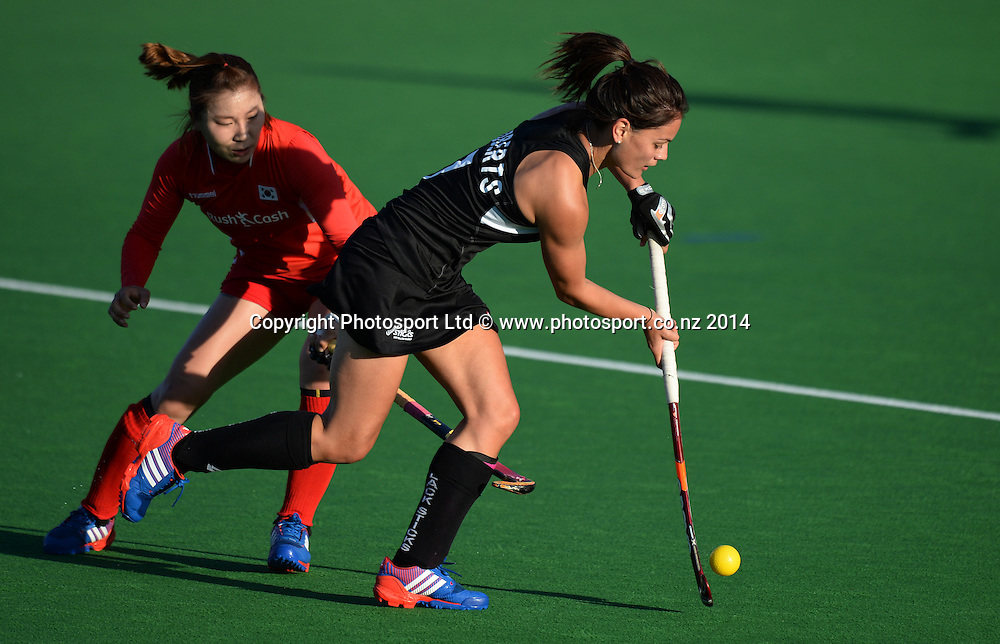 Aniwaka Roberts. International Womens Hockey. New Zealand Black Sticks v Korea. Auckland. New Zealand. Friday 28 March 2014. Photo: Andrew Cornaga / www.photosport.co.nz