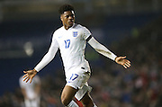Chuba Akpom (Hull City, loan from Arsenal), England U21 scores the decisive third goal during the UEFA European Championship Under 21 2017 Qualifier match between England and Switzerland at the American Express Community Stadium, Brighton and Hove, England on 16 November 2015.