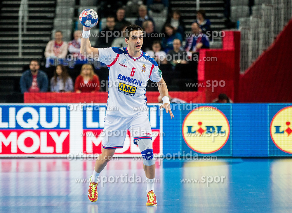 Zarko Sesum of Serbia during handball match between National teams of Serbia and Belarus on Day 7 in Main Round of Men's EHF EURO 2018, on January 24, 2018 in Arena Zagreb, Zagreb, Croatia.  Photo by Vid Ponikvar / Sportida