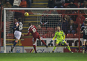 Aberdeen&rsquo;s Niall McGinn scores his second to complete the scoring - Aberdeen v Dundee in the Ladbrokes Scottish Premiership at Pittodrie, Aberdeen - Photo: David Young, <br /> <br />  - &copy; David Young - www.davidyoungphoto.co.uk - email: davidyoungphoto@gmail.com