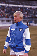 19.03.1986, Olympic Stadium, Helsinki, Finland..European Champions Cup, Quarter Final, 2nd leg match, FC Kuusysi v Steaua Bucuresti..Juha Annunen (Kuusysi) warming up.©Juha Tamminen