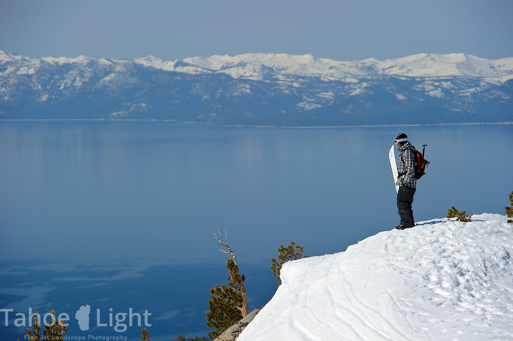 Snowboarder Nick Langkamp on top of Incline Peak