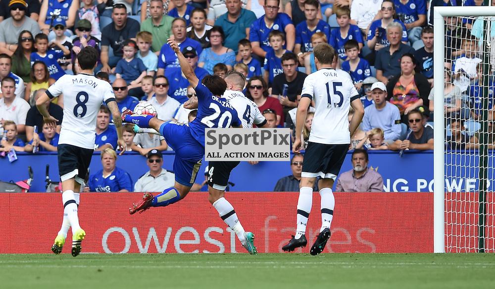 Shinji Okazaki makes an acrobatic attempt on goal (c) Simon Kimber | SportPix.org.uk