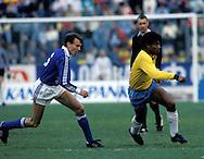 28.051987, Olympic Stadium, Helsinki, Finland.Friendly International match, Finland v Brazil..Erik Holmgren (Finland) v Muller (Brazil).Full name: Lu?z Ant?nio Corra da Costa.©JUHA TAMMINEN