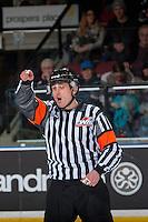 KELOWNA, CANADA - JANUARY 27: Referee Jeff Ingram makes a call at the Kelowna Rockets against the Kamloops Blazers on January 27, 2017 at Prospera Place in Kelowna, British Columbia, Canada.  (Photo by Marissa Baecker/Shoot the Breeze)  *** Local Caption ***
