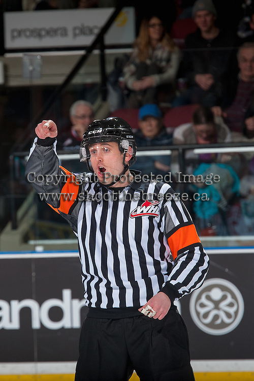 KELOWNA, CANADA - JANUARY 27: Referee Jeff Ingram makes a call at the Kelowna Rockets against the Kamloops Blazers on January 27, 2017 at Prospera Place in Kelowna, British Columbia, Canada.  (Photo by Marissa Baecker/Shoot the Breeze)  *** Local Caption ***