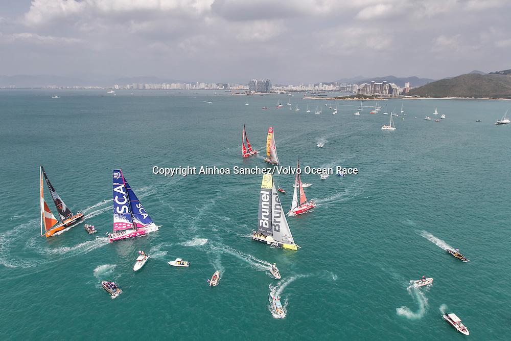 February 07, 2015. Team Vestas Wind In-Port race in Sanya.