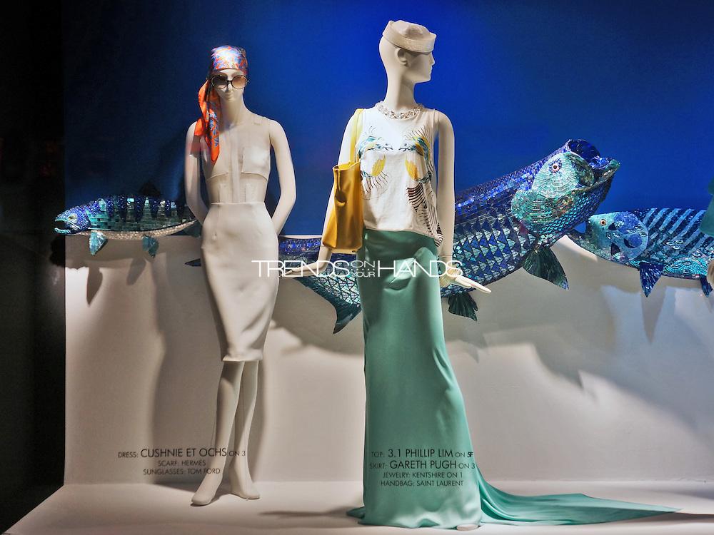 Left:<br /> Dress Cushnie et Ochs; Scarf Herm&eacute;s; Sunglasses Tom Ford.<br /> Right:<br /> Top Phillip Lim; Skirt Gareth Pugh;