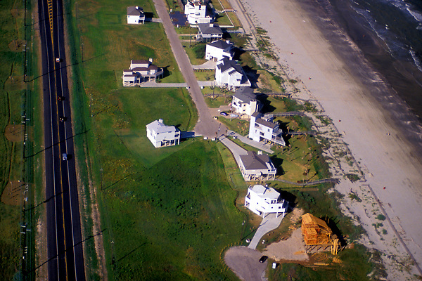 Aerial view of large beach homes in Galveston Texas