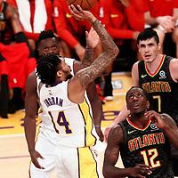 07 January 2018: Los Angeles Lakers forward Brandon Ingram (14) takes a jump shot over Atlanta Hawks forward Taurean Prince (12) during the LA Lakers 132-113 victory over the Atlanta Hawks, at the Staples Center, Los Angeles, California, USA.