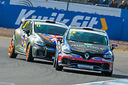Finlay Robinson (GBR) of Westbourne Motorsport exits the hairpin, closely followed by Luke Warr (GBR) of Specialized Motorsport during Round 14 of the 2019 Renault UK Clio Cup at Knockhill Racing Circuit, Dunfermline, Scotland on 15 September 2019.