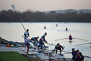 Caversham, Reading, Great Britain,    Crew's boating for the first of the days training sessions,  GBRowing Training Session, at the National Training Base, Berkshire, England.<br />