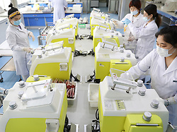 ANSHAN, April 18, 2020  Staff members work at Anshan Red Cross Blood Center in Anshan, northeast China's Liaoning Province, April 16, 2020. Since the government of Anshan called for a blood donation campaign among public servants and charity groups recently, the blood inventory of Anshan Red Cross Blood Center has returned to normal. (Credit Image: © Yao Jianfeng/Xinhua via ZUMA Wire)